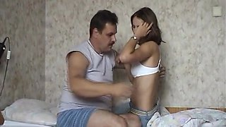 Old Russian Guy Fucks His Young Hairy Girl On Her Bed