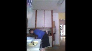 Spy Mature Woman in kitchen