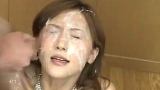 Japanese playgirl overspread in cum