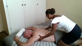 Ebony masseus paid to give happy ending massage fuck