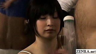 Subtitled CFNM Japanese bath accidental handjob cumshot