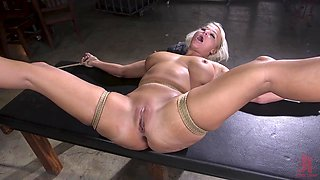 Busty blonde pornstar London River loves being tied up for sex