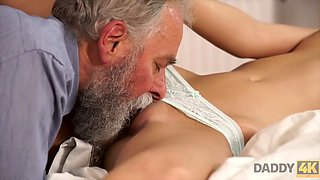 Boy didn&#092't expect that old dad will fuck his hot GF Ria Sun