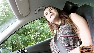 Huge milk balls girl having sex in a car for a ride