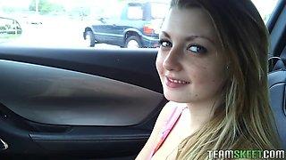 Sexy Horny Slut Masturbating In The Car And Walking Naked