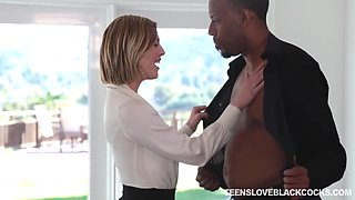 Attractive White Woman Unzips Her Office Shirt Seducing Black Client