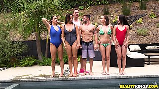 Dana DeArmond and Krissy Lynn seduce a guy for a fuck at a pool