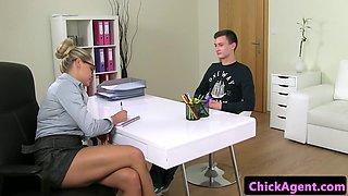 Czech interview agent riding amateurs penis