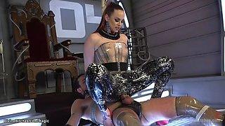 Redhead dom in latex pegging slave