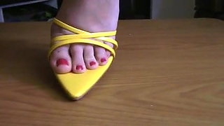 sexy thin sole  high heel sandals dominate and milk his cock