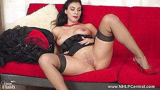 Busty brunette Roxy Mendez wanks in sheer nylons red stilettos
