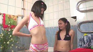 Cute Lesbian girl Nymphs In The Bath