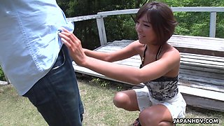 Japanese girl in short skirt Runa Hagawa gives a blowjob and spits cum in hand