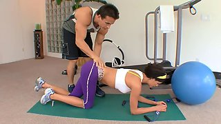 fit older hunk is hot brunette in the gym sucked his tools