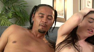 Two big guys fuck the horny white chick with a small body