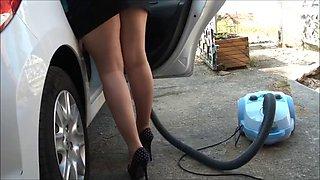 Car wash in pantyhose