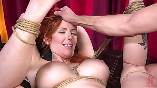 redhead busty babe was bound, whipped and fucked in the ass