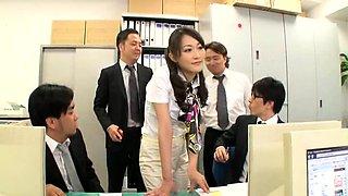Beautiful Oriental secretary gets gangbanged in the office