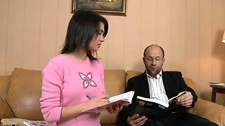 Wanton russian brunette first timer fucked by monster rod