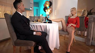 Romantic Dinner Prompts Blonde Babe to Spread Wide
