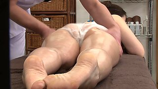 Oily massage leads to steamy pussy drilling with his Asian sweetie