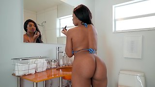 Big tits and booty on the horny hardcore black girl