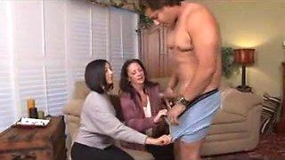 two women milk off his cock WF