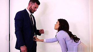 Horny boss seducing an innocent employee at office room