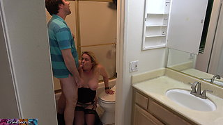 Stepson caught masturbating in the bathroom fucks stepmom