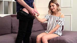 Hesitant teen Tieny Mieny sucks a cock for the first time