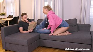 Gentle fucking on the sofa with shaved pussy cutie Jenny Wild