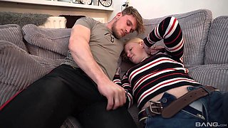 Horny guy fucks his amateur blonde girlfriend Eva on the sofa