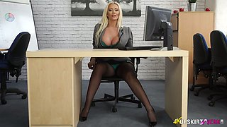 Savory office slut Lucy Zara takes off her panties and spreads legs wide open