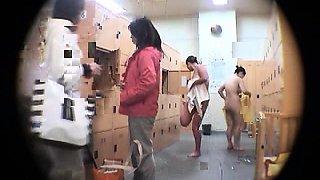 Kinky voyeur shoots sexy Oriental girls in the locker room