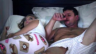 Stepdad sucked and fucks 18yo stepdaughter next to his wife