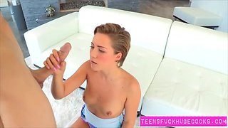 Cute teen Bailey Bea is perplexed by huge erection
