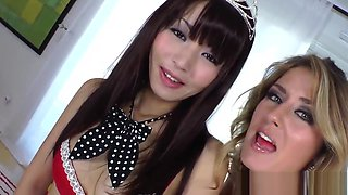 Asian femdom pegging submissive in threeway