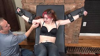 Tkl abuse red haried girl extreme feet tickled