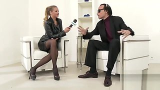 She interviews this guy and then gets on her knees