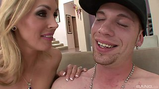 Horny blonde wife Tanya Tate spreads her legs to ride on the sofa