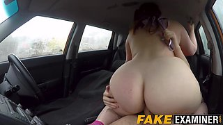 Redhead BBW Estella Bathory sucks and rides her instructor