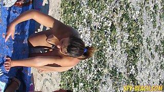 Gorgeous Amateur MILFs Nude Beach Voyeur Close Up Pussy