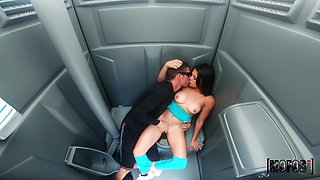 Ella Cruz riding a stranger's dick in the public toilet until she cum