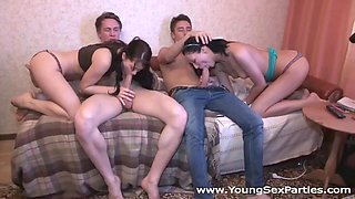 Russian students enjoy foursome sex for the first time