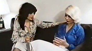 Sensual blowjob from vintage babe to a chubby dude