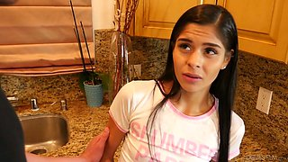 Wondrous Latina girlie Katya Rodriguez gets poked right on the kitchen counter