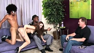 Sexy wife with lovely tits enjoys interracial cuckold action