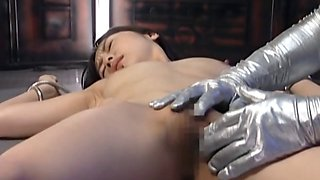 Japanese slave getting clit rubbed