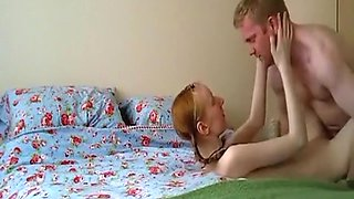 Anorexia pigtailed redhead girl has missionary, doggystyle and cowgirl sex with creampie on the bed.