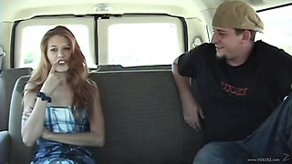 Slut in the bang bus sucking cock and getting fucked